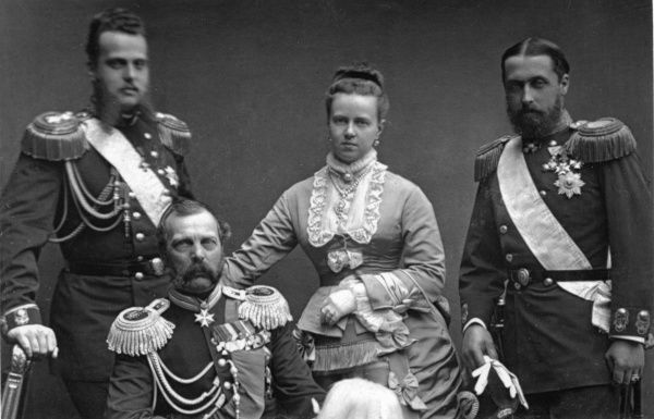 Prince Alfred, Duke of Edinburgh and Saxe-Coburg (1844-1900) together with his new wife, Princess Maria Alexandrovna of Russia, taken in May 1874 shortly after their marriage at St