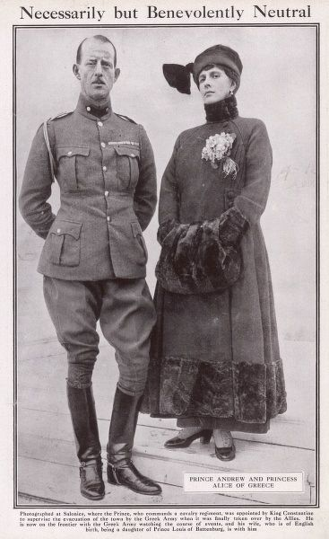 Prince Andrew of Greece pictured in uniform with his wife, Alice