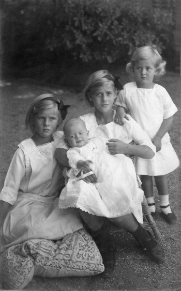 From left: Princess Theodora, Princess Sophie (the baby), Princess Margareta and Princess Cecilie of Greece, daughters of Prince Andrew of Greece and Princess Alice of Battenberg and elder sisters of the present Duke of Edinburgh, Prince Philip