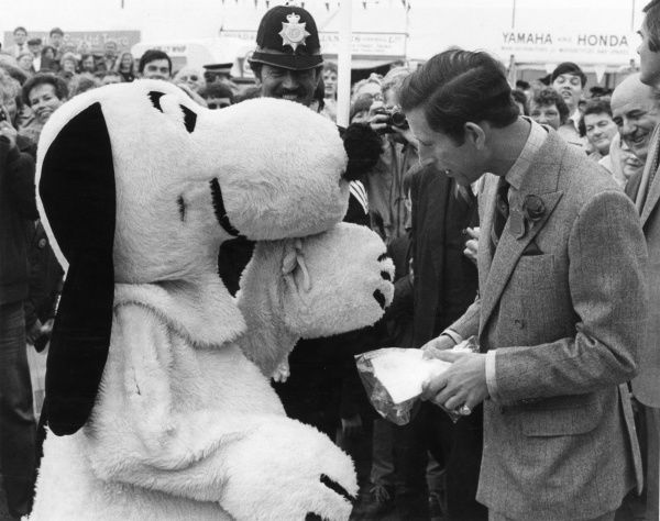 Prince Charles, Prince of Wales at the Royal Cornwall Show meeting a reveller dressed as up as Charles M. Schulz' Snoopy the Dog