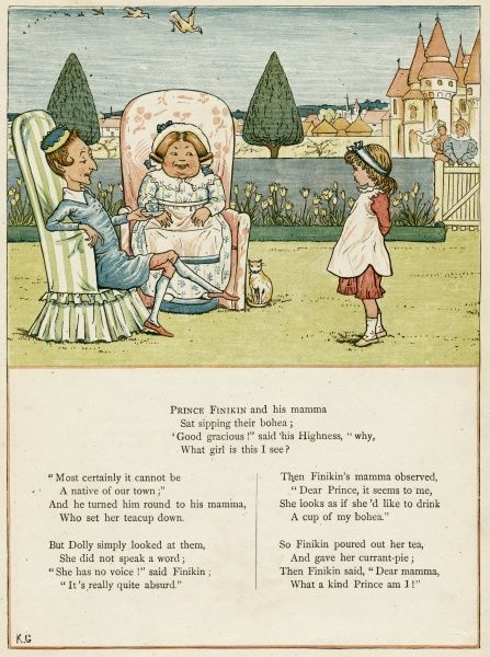 Prince Finikin, his mamma and Dolly. The prince offers Dolly a cup of tea, and thinks he's very kind to do so.  first published 1879