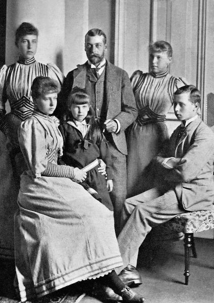 Prince George of Wales (1865-1936), later King George V (pictured centre) with his cousins, the children of Prince Alfred, Duke of Edinburgh and Saxe-Coburg