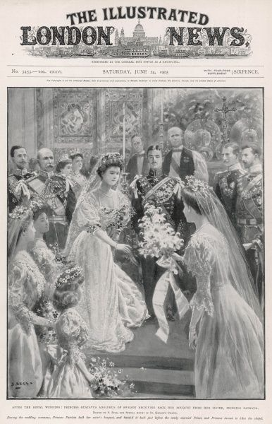 The royal wedding of Prince Gustaf Adolf of Sweden and Princess Margaret of Connaught. After the ceremony, the princess takes back her bouquet from her sister, Princess Patricia. 15th June 1905