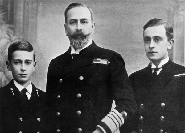Prince Louis of Battenberg (1854-1921), British First Sea Lord in 1914 with his sons, George (right) and Louis (Lord Louis Mountbatten). During the first few months of World War I, anti-German feeling among the British public forced him to resign