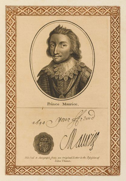 Prince MAURICE younger brother of prince Rupert of the Rhine, royalist supporter during the English Civil War with his autograph