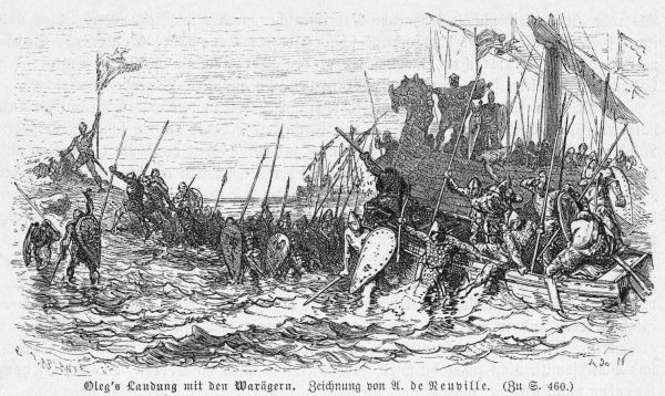 Prince Oleg and the Varangians disembark : ultimately they will control Kiev and Novgorod