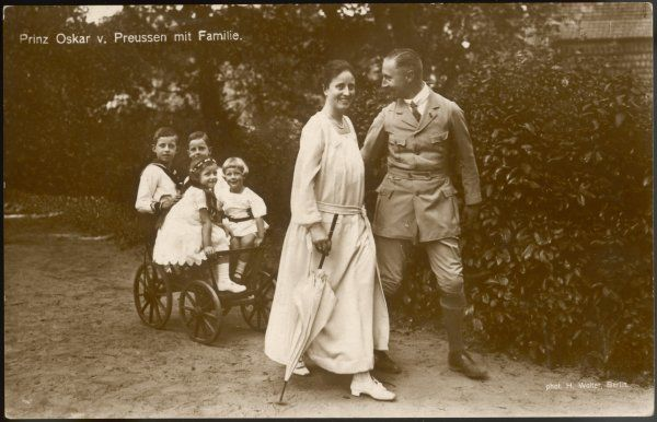PRINCE OSKAR OF PRUSSIA Fifth of the six sons of Kaiser Wilhelm II. Here with his wife, Ina Maria von Bassewitz (1888-1973) and four of their children
