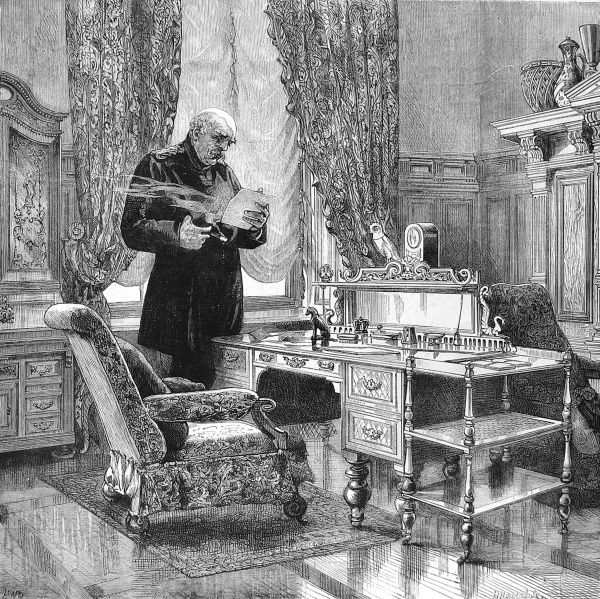 Engraving showing Prince Otto Edward Leopold von Bismarck, Duke of Lauenburg (1815-1898), the Prusso-German statesman and first Chancellor of the German Empire, pictured in his study, c.1882