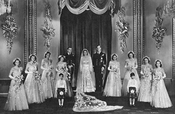 The wedding of the heir-presumptive to the British throne, Princess Elizabeth and Lieutenant Philip Mountbatten on 20 November 1947