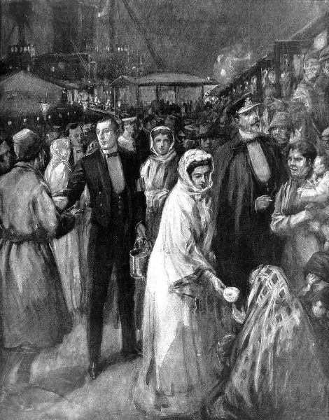 Illustration showing Prince and Princess Louis of Battemberg feeding rescued emigrants from the ship 'Cairnrona', which caught fire in the Channel, at Dover Docks, 1910