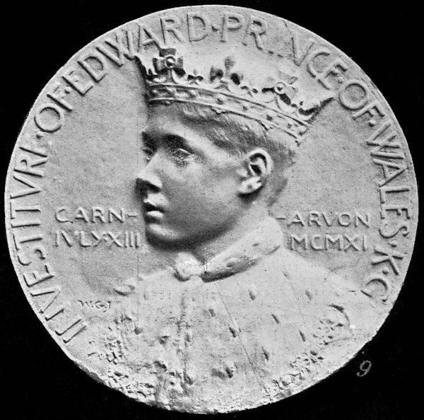 Photograph showing the obverse of the Prince of Wales Investiture Medal produced for that event in Carnarvon Castle, North Wales, 1911. The Prince later became Edward VIII and shortly thereafter Duke of Windsor