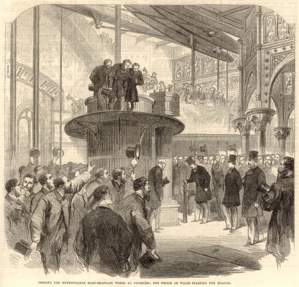 Engraving showing the Prince of Wales (later King Edward VII) officially opening (by starting the engines) the Metropolitan Main Drainage Works at Crossness in April 1865