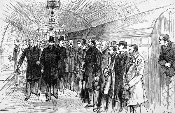 The Prince of Wales opening the new electrical railway. The arrival of the train into Stockwell.The underground electric railway runs for three miles from a point in King William Street, near Monument passing under the Thamesto the Borough, Elephant