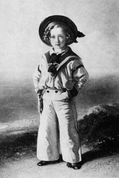 Prince Albert Edward, Prince of Wales, King Edward VII (1841-1910) dressed in a sailor suit, after a painting by Winterhalter. Painted in 1846 when Bertie was four years old, this popular picture marked a turning point in childrens' fashion