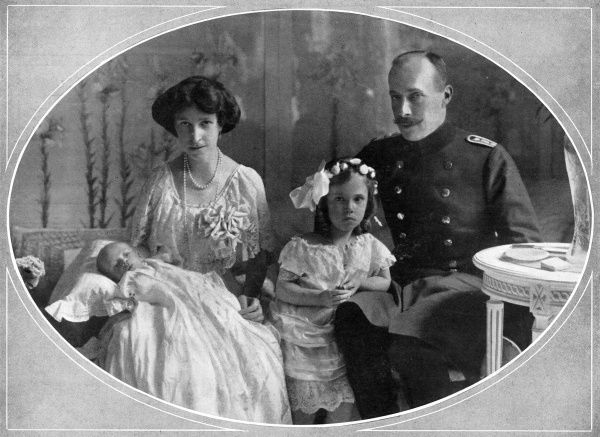 Prince William of Wied (1876 - 1945), Prince of Albania, with his wife, Princess Sophie of Schonburg Waldenburg and his children, Princess Marie Eleonore and Prince Carl Victor