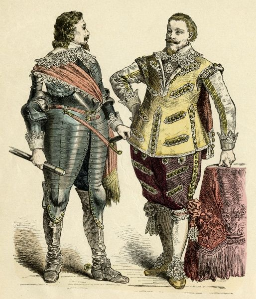 German Princely costumes: Armour worn with a lace edge sash, falling collar & reverse cuffs; breeches & doublet trimmed with lace - even the shoe roses are made of lace. Date: 1625 - 1640