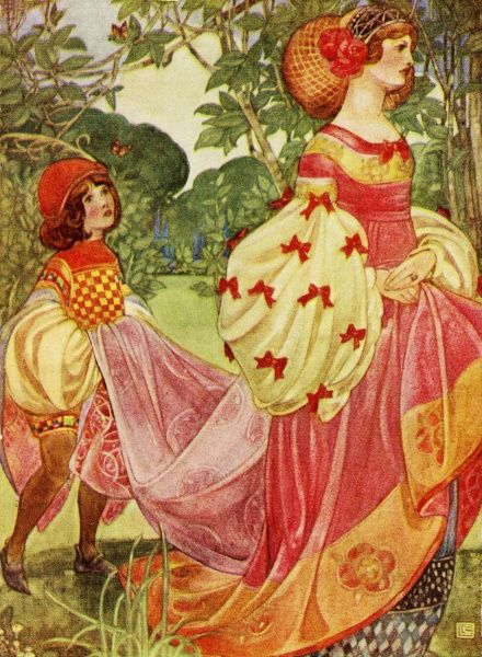 The Princess, walking along in a beautiful renaissance style dress, with a pageboy to carry her train.  20th century