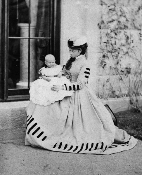 Princess Alice (1843-1878), second daughter and third child of Queen Victoria, pictured in Scotland with her eldest child, Princess Victoria of Hesse