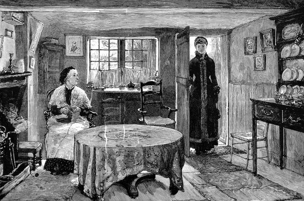 Engraving showing Princess Beatrice, Queen Victoria's youngest daughter visiting the inhabitant of a cottage on the Osborne estate on the Isle of Wight