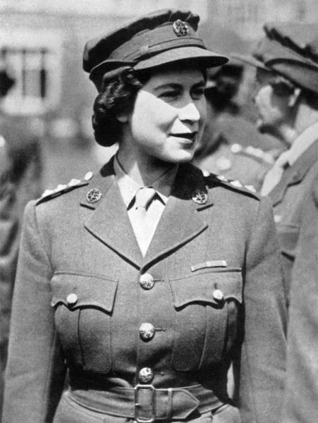 Towards the close of the Second World War, the Princess Elizabeth joined the Auxiliary Territorial Services (A.T.S.). She is pictured here in it's uniform. Following a full course of training she became a motor mechanic. The Princess came of age in 1944
