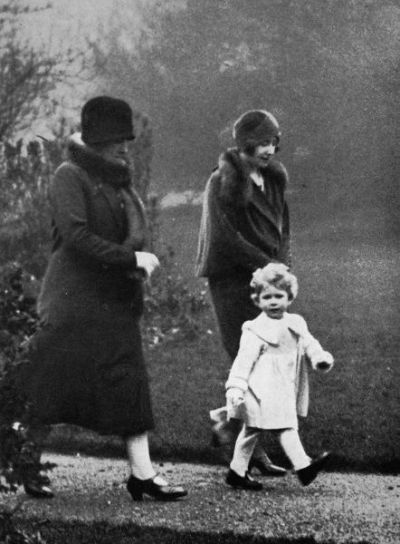 A two year old Princess Elizabeth in the grounds of the Duke and Duchess of York's Piccadilly House. Date: 1928