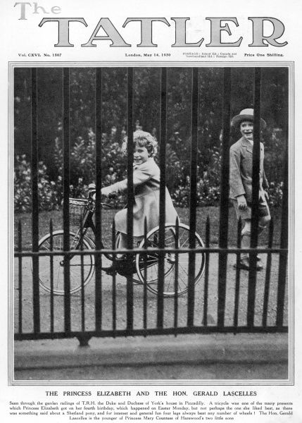 Princess Elizabeth of York, our present Queen Elizabeth II, pictured through the railings of the York's London home in Piccadilly, London riding a new tricycle given to her for her fourth birthday. Also in the picture is the Hon. Gerald Lascelles
