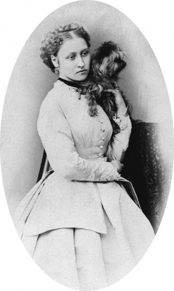 Princess Louise, Duchess of Argyll (1848-1939) shown in the late 1860s with a pet dog