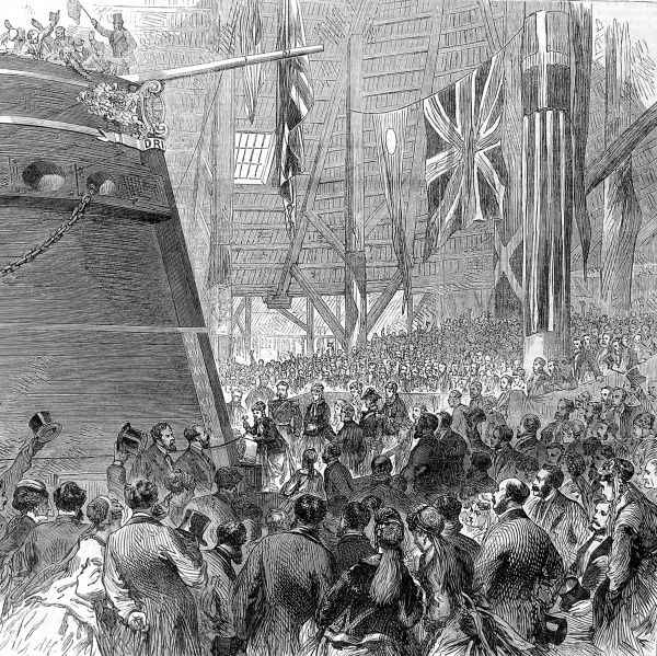 Princess Louise (1848-1939) releasing the dog-shore for the launch of the screw-corvette ship, 'Druid' at Deptford Dockyard, London in 1869