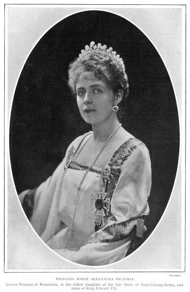 Princess Marie Alexandra Victoria, the Crown Princess of Romania and eldest daughter of the late Duke of Saxe-Coburg-Gotha, and niece of King Edward VII