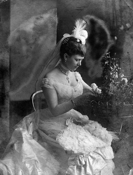 Photographic portrait of Princess May of Teck (1867-1953), later Queen Mary, pictured c.1885, in her 'coming out' year. In 1891 she married the Duke of York, who became King George V of Great Britain and North Ireland (1865-1936). Date: 1885