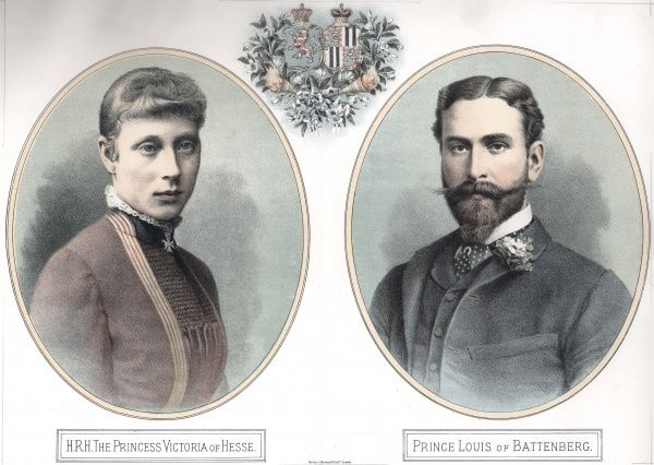 Coloured illustration celebrating the engagement of Princess Victoria of Hesse-Darmstadt to Prince Louis of Battenberg