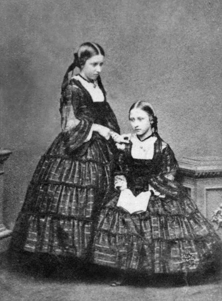 Princess Helena (standing) and Princess Louise, the third and fourth daughters of Queen Victoria and Prince Albert