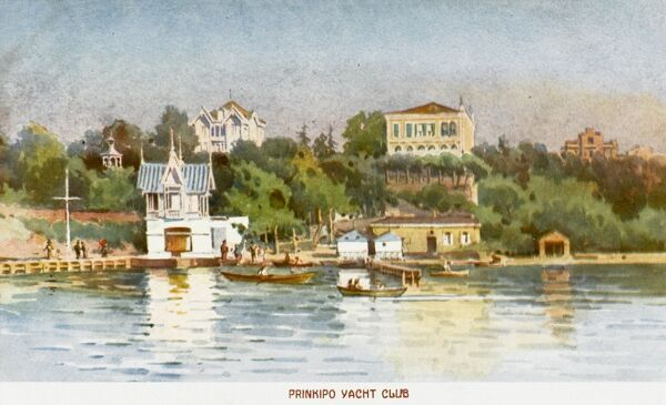 Constantinople - Princes Islands - Buyukada - the largest of the nine islands (a place of exile for the Byzantine Empresses) set within a border of seashells. Today, the rich inhabitants of Istanbul have their summerhouses here