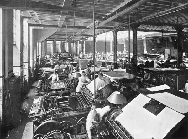 Printing presses at Cassells works, La Belle Sauvage, London