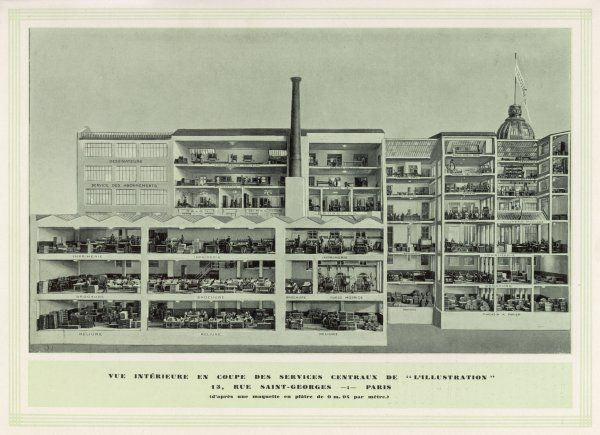 L'ILLUSTRATION : cross-section of the works at 12, rue Saint- Georges, Paris, where France's most venerable illustrated magazine was produced until its demise during WW2