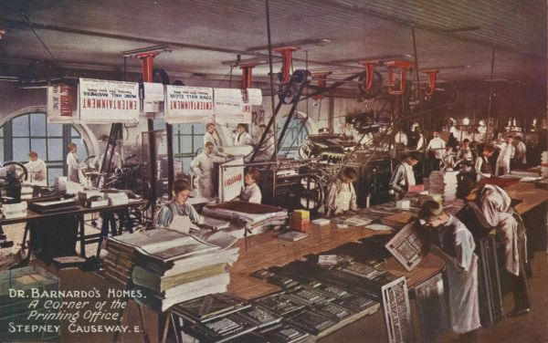 Printing office at Barnardo's Home, Stepney Causeway, East London. In 1870, Thomas Barnardo set up a home for destitute boys at 18-26 Stepney Causeway. As well as accommodation, the boys were given training to equip them to earn their own living
