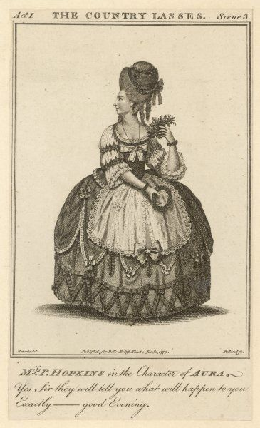 PRISCILLA KEMBLE (nee Hopkins) actress, later wife of John Philip Kemble : in the role of Aura in Johnson's 'The country lasses&#39