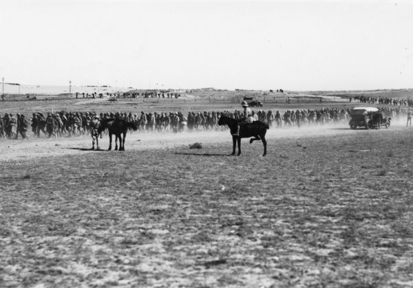 Prisoners captured by the Australian Light Horse during the enemy retreat on the Gaza-Beersheba Line, Palestine, during the First World War. Date: 1917