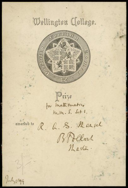 A prizewinners' bookplate issued by Wellington school to R L S Mansel for winning the mathematics prize. Alas, we shall never which book it was once attached to
