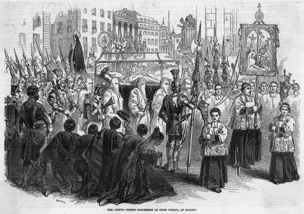 On Good Friday, anniversary of the crucifixion of Jesus, the Corpus Christi procession carries a facsimile body of Christ through the streets of Madrid, while the pious kneel. Date: 1847