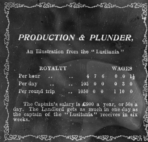 A slide entitled Production & Plunder, used for a lecture about the South Wales Miners Federation. Statistics are listed, comparing the royalties on the use of coal on the luxury steamer the Lusitania with miners' wages