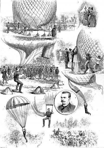 Engraving showing 9 scenes from Professor Baldwin's demonstration of ballooning and parachuting, held in the grounds of the Alexandra Palace, London, 1888