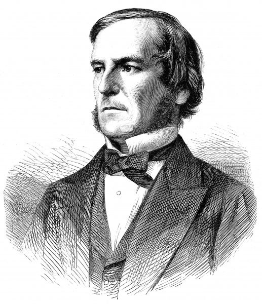 Engraved portrait of George Boole (1815-1865), the English mathematician, philosopher and inventor of Boolean algebra, pictured c.1865
