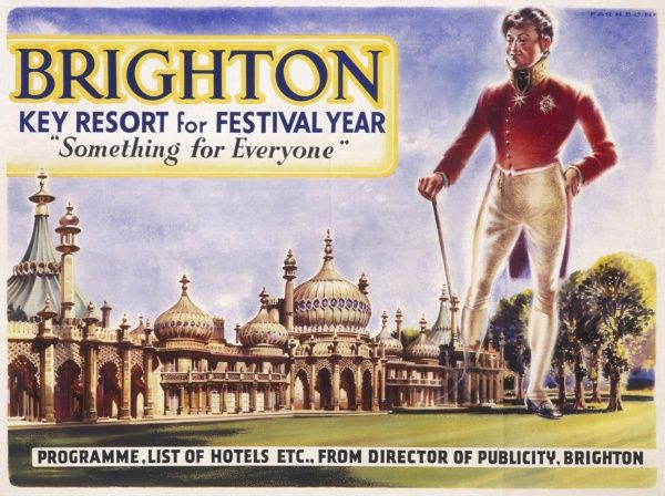 Programme cover for the Brighton Festival, probably in 1951, Festival of Britain year, showing a giant and fairly slim Prince Regent looking approvingly at the Brighton Pavilion
