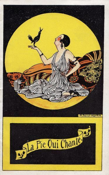 Programme cover for La Pie Qui Chante Theatre, Paris, 1919. Artwork by Marcelle de Saint Martin. 1919
