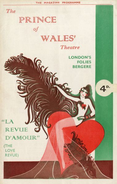 Programme cover for La Revue D'Amour, staged at the Prince of Wales Theatre (described as London's Folies Bergere), London, 1934. Art work probably by Louis Curti. Date: 1934