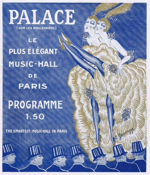 Programme cover for Oh Les Belles Filles starring the Dolly Sisters at the Palace Theatre, Paris 1923. Artwork by Charles Gesmar. 1923
