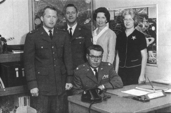 Hector Quintanilla with other members of the staff of the United States Air Force's 'Project Blue Book&#39