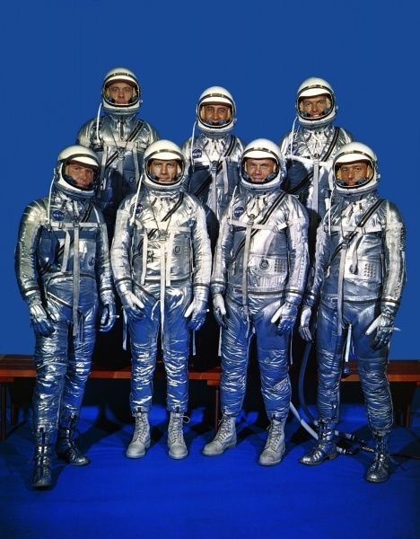 The original 7 Project Mercury astronauts. Top row (l to r): Alan Shepard, V I Gus Grissom, L G Cooper. Front row (l to r) Walter M Schirra, D K Slayton John Glenn and Scott Carpenter