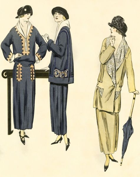 Three elegant Parisian outfits 'pour la promenade' in 1923. Date: 1923